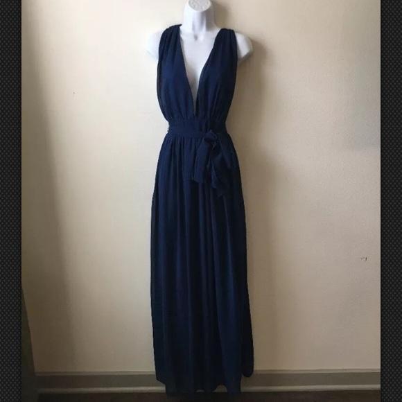 & Other Stories Dresses | Long Navy Blue Chiffon Dress | Poshmark